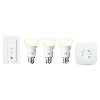 Philips Hue Set de iluminación LED (E27, 9 W, Color de luz: Blanco cálido, Intensidad regulable)