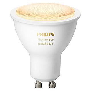 Philips Hue Bombilla LED (GU10, 5 W, Temperatura de color ajustable, Intensidad regulable, 1 ud.)