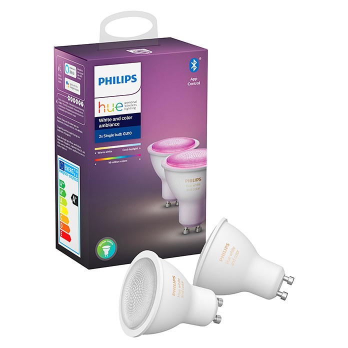 Philips Hue LED-Leuchtmittel-Set White & Color Ambiance (GU10, 5,7 W, RGBW, Dimmbar, 2 Stk.)