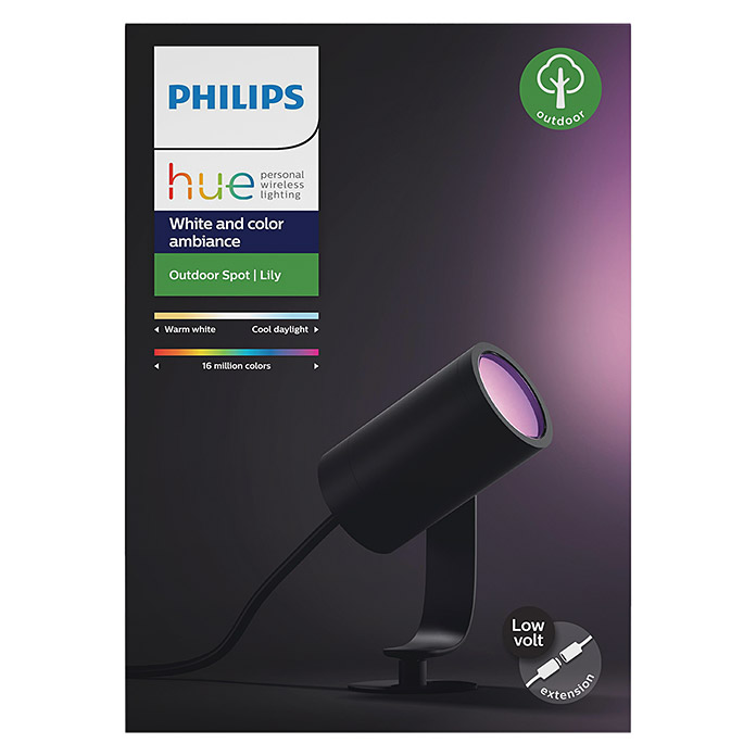 Philips Hue LED-Gartenspot Lily (1-flammig, 8 W, Lichtfarbe: RGB, IP65)