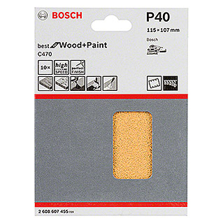 Bosch Professional Schleifblatt-Set C470 Best for Wood and Paint (10 Stk., Körnung: 40)