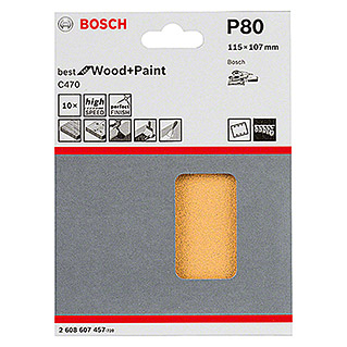 Bosch Professional Schleifblatt-Set C470 Best for Wood and Paint (10 Stk., Körnung: 80)