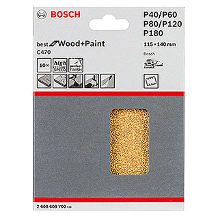 Bosch Professional Schleifblatt-Set C470 Best for Wood and Paint (115 x 140 mm, Körnung: 40, 10 Stk.)