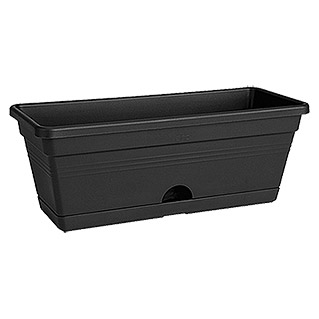 Elho Green Basics Blumenkasten Trough mini (Schwarz, 30 x 12 x 11 cm)