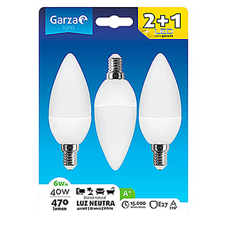 Garza Bombilla LED Vela (3 uds., E14, 3 x 5 W, Color de luz: Blanco neutro, No regulable)