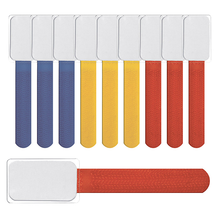 Label The Cable Klettbinder Mini Tags (Bunt, 90 x 12 x 2 mm, 10 Stk.)