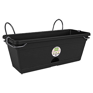 Elho Green Basics Balkonkasten-Set Trough mini all-in-1 (30 x 20 cm, Schwarz)