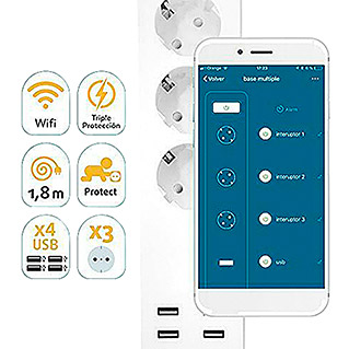 Garza Smart Home Base de enchufe múltiple inteligente WiFi (3, Blanco, 1,8, 3.680 W)