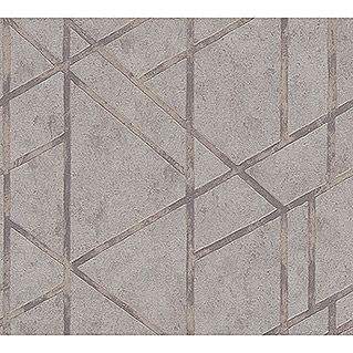 AS Creation Metropolitan Stories Vliestapete Geometrie (Grau/Metallic, Grafisch, 10,05 x 0,53 m)