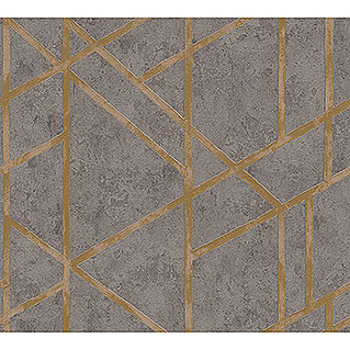 AS Creation Metropolitan Stories Vliestapete Geometrie (Grau/Gold, Grafisch, 10,05 x 0,53 m)