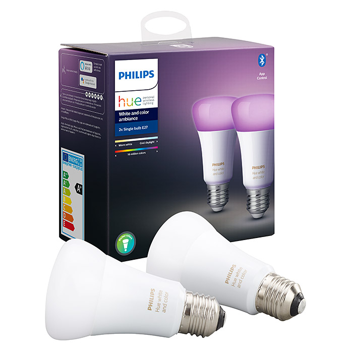 Philips Hue LED-Leuchtmittel-Set White & Color Ambiance (E27, 9 W, RGBW, Dimmbar, 2 Stk.)