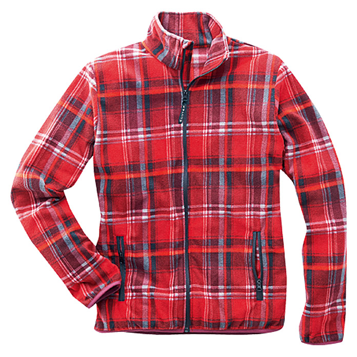 FLEECE-   JACKE ROT-KARIERT   GR.  S    AKTION