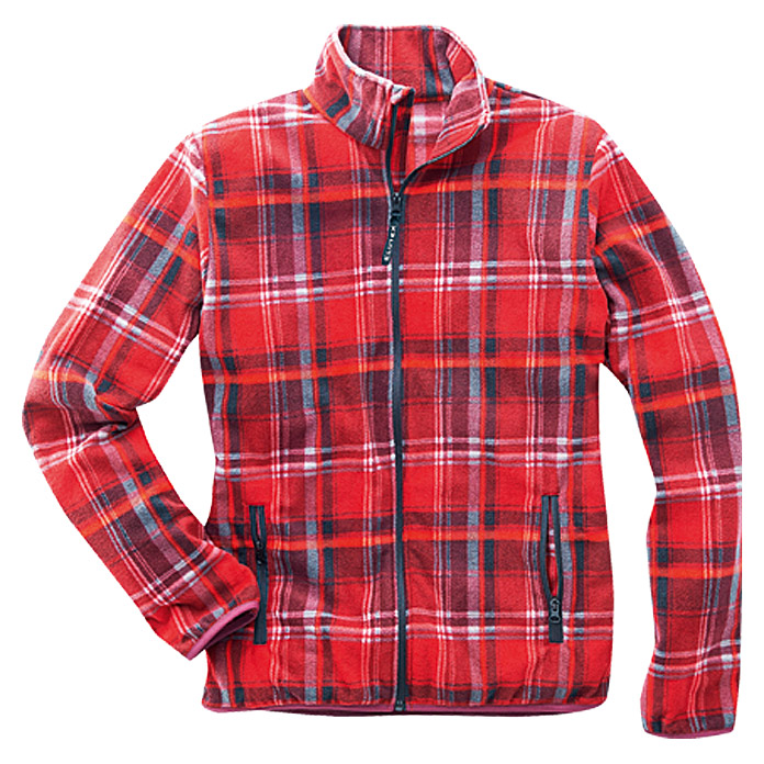FLEECE-   JACKE ROT-KARIERT   GR. M     AKTION