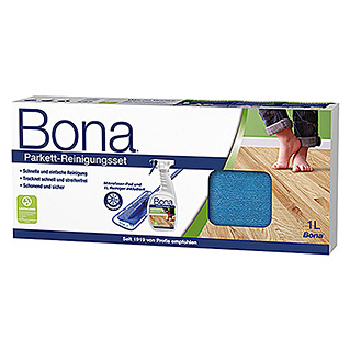Bona Reinigungs-Set Parkett (1 x Cleaner, 1 x Mop, 1 x Micropad)