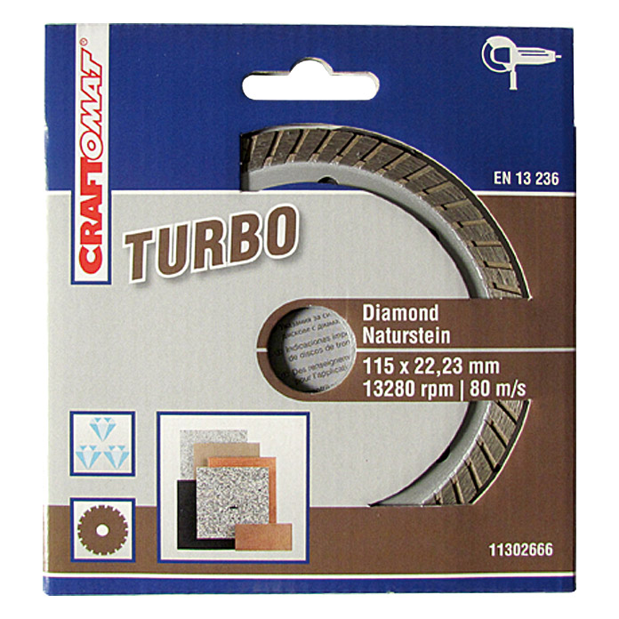 DIAMANT   115 mm    NATURSTEINBRAUN     TURBO