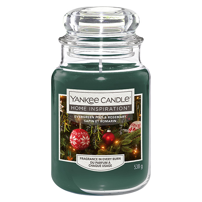 Yankee Candle Home Inspirations Duftkerze (Im Glas, Evergreen Pine & Rosemary, Large)