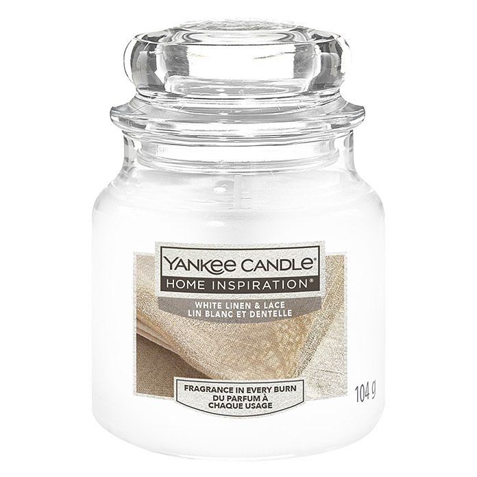 Yankee Candle Home Inspirations Duftkerze (Im Glas, White Linen & Lace, Small)