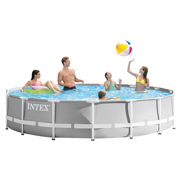 Intex Frame-Pool-Set Prism Rondo (Ø x H: 457 x 107 cm, 14,61 m³, Grau)