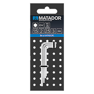 Matador Set de llaves Allen (4 piezas, 1,5-3 mm, Hexagonal interior)