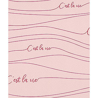 FREUNDIN HOME COLLECTION III Vliestapete C'est la vie (Rosa, Grafisch, 10,05 x 0,53 m)