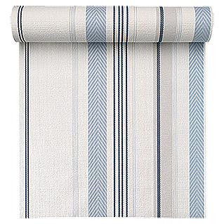 FREUNDIN HOME COLLECTION Sea Dream Vliestapete (Blau/Weiß, Streifen, 10,05 x 0,53 m)