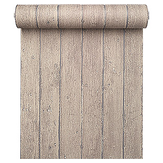 FREUNDIN HOME COLLECTION Vintage Vliestapete (Greigebraun, Holzoptik, 10,05 x 0,53 m)
