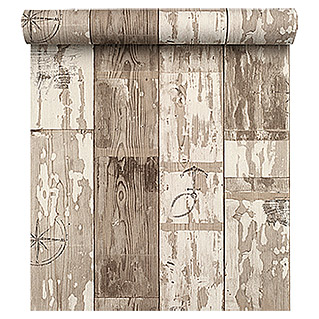FREUNDIN HOME COLLECTION Sea Dream Vliestapete (Braun/Beige/Weiß, Holzoptik, 10,05 x 0,53 m)