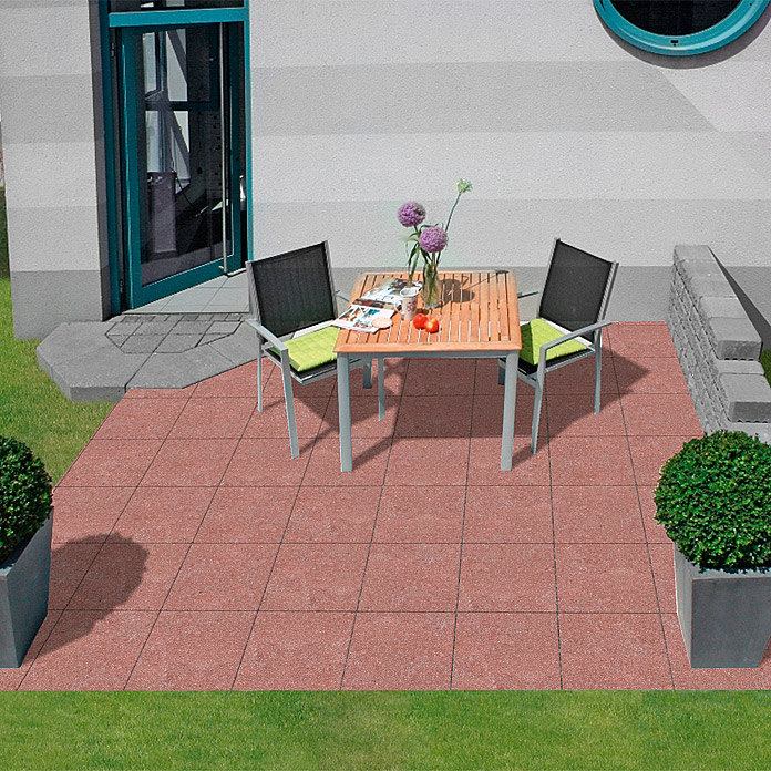 EHL Terrassensystem Aviano Variante 2M (Rot, Farbe Mauer: Grau/Anthrazit)