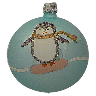 Christbaumkugel (Pinguin, Handbemalt, 7 cm)