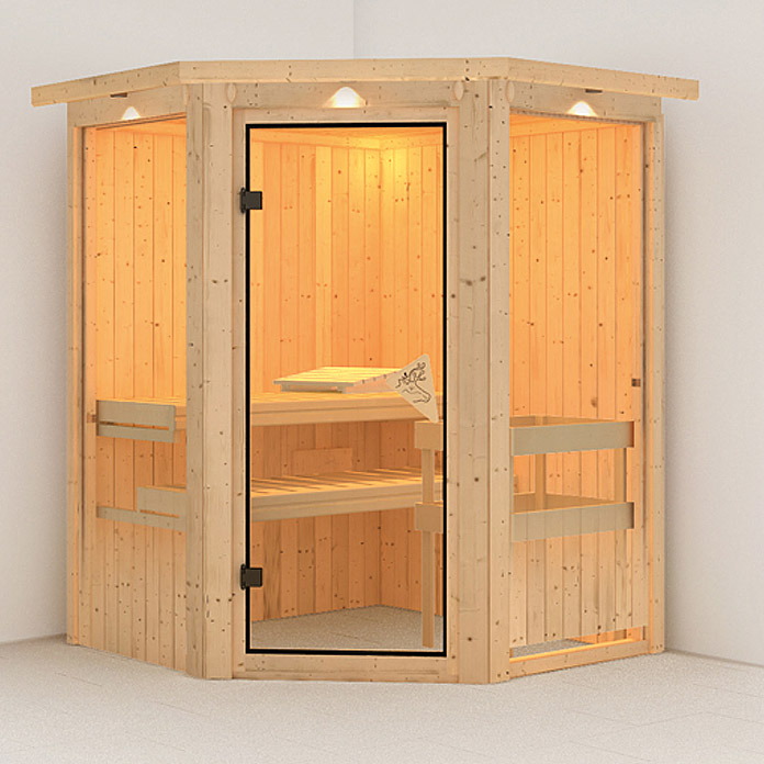 karibu systemsauna larin mit sauna bio ofen 9 kw inkl steuerung easy mit dachkranz und. Black Bedroom Furniture Sets. Home Design Ideas