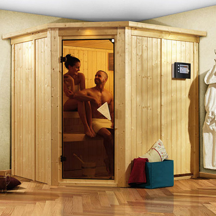 karibu systemsauna siirin mit 9 kw saunaofen mit integrierter steuerung mit dachkranz und. Black Bedroom Furniture Sets. Home Design Ideas