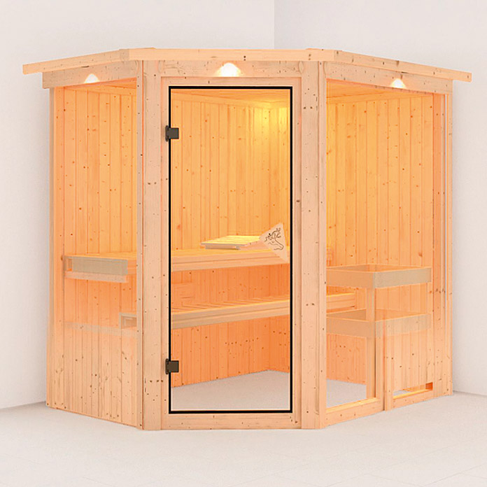 karibu systemsauna fiona 1 mit saunaofen 9 kw inkl steuerung easy mit dachkranz und. Black Bedroom Furniture Sets. Home Design Ideas