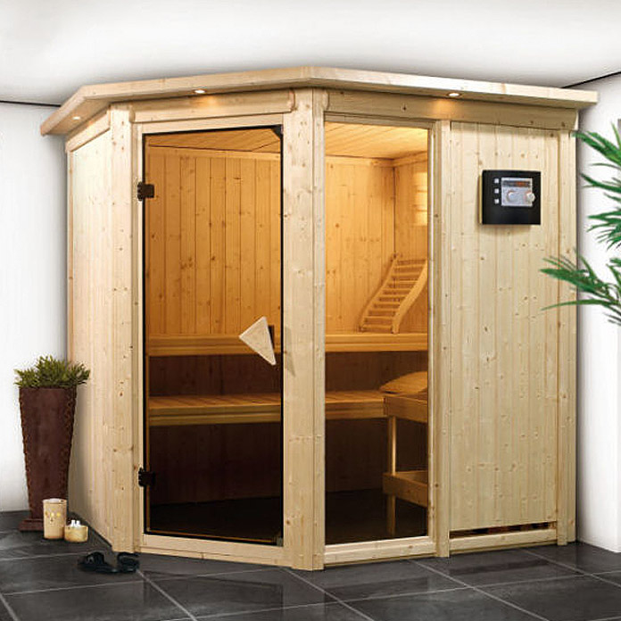 karibu systemsauna fiona 1 mit 9 kw saunaofen mit integrierter steuerung 151 x 196 x 198 cm. Black Bedroom Furniture Sets. Home Design Ideas