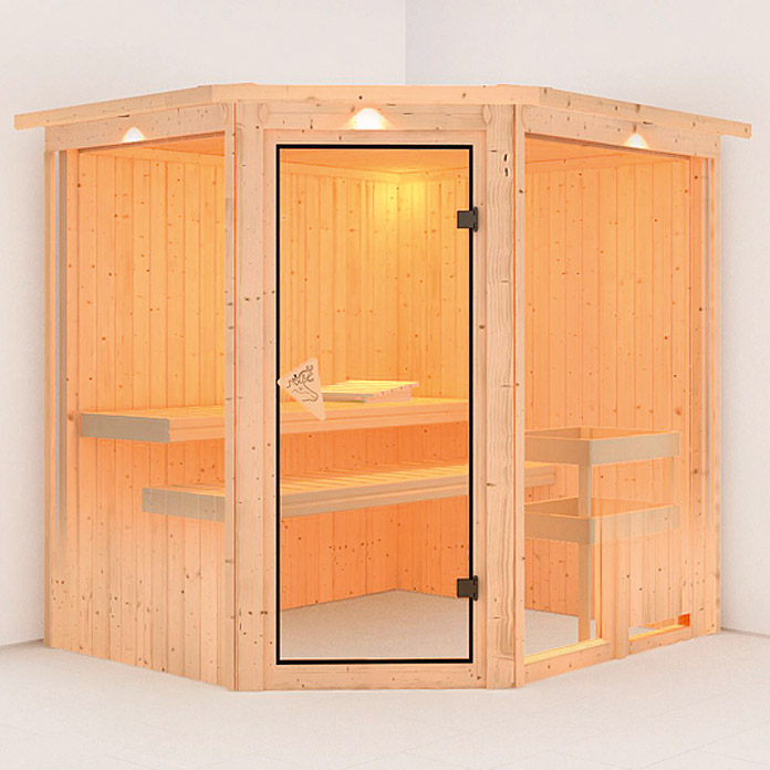 karibu systemsauna fiona 2 mit saunaofen 9 kw inkl. Black Bedroom Furniture Sets. Home Design Ideas