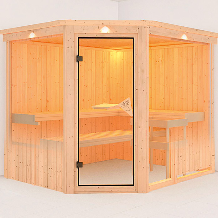 karibu systemsauna fiona 3 mit sauna bio ofen 9 kw inkl steuerung easy 196 x 231 x 198 cm. Black Bedroom Furniture Sets. Home Design Ideas