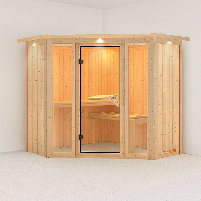 karibu systemsauna flora 1 mit 9 kw saunaofen mit integrierter steuerung 196 x 196 x 198 cm. Black Bedroom Furniture Sets. Home Design Ideas