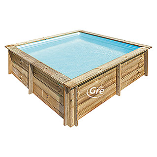 Gre Piscina de madera City (L x An x Al: 225 x 225 x 68 cm, 2,3, Natural)