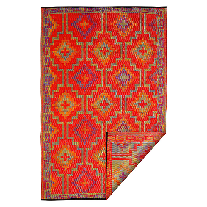 Teppich Outdoorteppich Lhasa (Orange/Violett, 180 x 120 cm, 100 % Polypropylen)