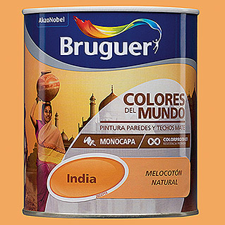 Bruguer Colores del Mundo Pintura para paredes India melocotón natural (750 ml, Mate)