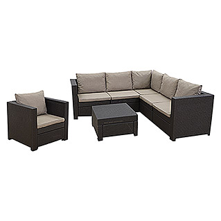 Keter Loungemöbel-Set Provence (3-tlg., Max. Personenzahl: 6, Polyrattan, Braun/Cappuccino)