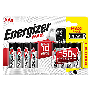 Energizer Batterie Max AA (Mignon AA, 1,5 V, 8 Stk.)