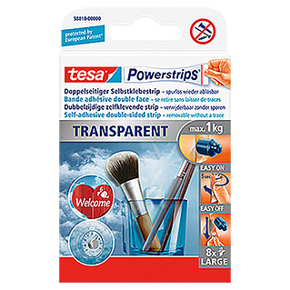 Tesa Powerstrips Selbstklebestrip Transparent Large