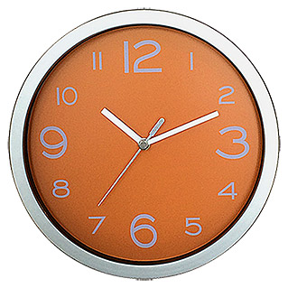 Wanduhr Basic (Silber/Orange)