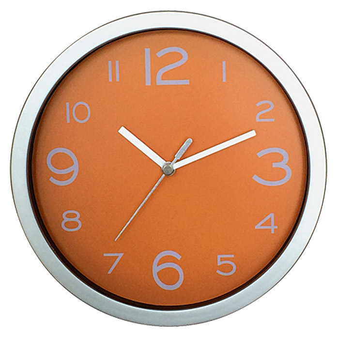 wanduhr basic silber orange durchmesser 20 cm bauhaus. Black Bedroom Furniture Sets. Home Design Ideas