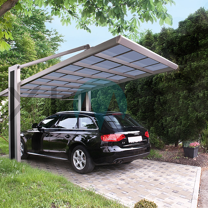 ximax carport my port 150 5 x 2 7 m einfahrtsh he 1 95 m edelstahloptik schneelast 188 kg. Black Bedroom Furniture Sets. Home Design Ideas