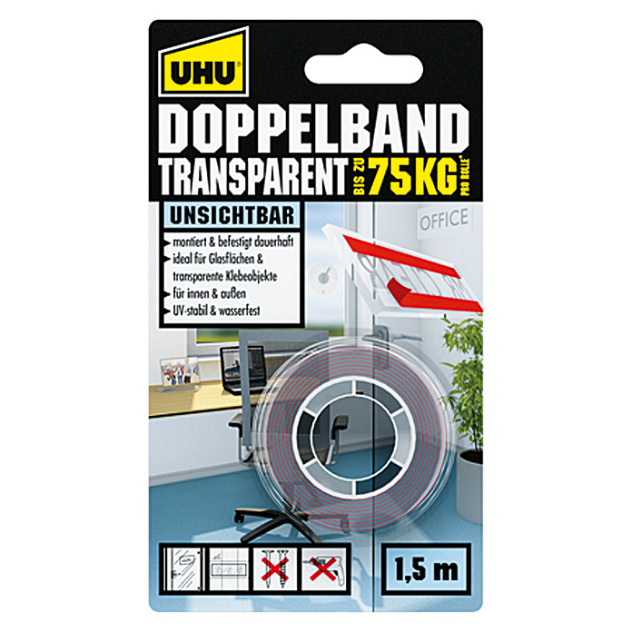 UHU Doppelband Transparent (L x B: 1,5 m x 19 mm)