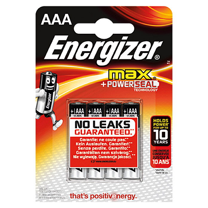 Energizer Batterie Max (Micro AAA, 4 Stk., 1,5 V)