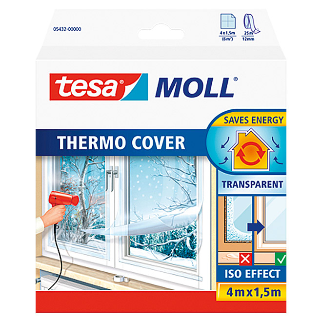 Tesa MOLL Fensterisolierfolie Thermo Cover (4 x 1,5 m)
