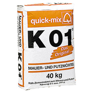 Quick-Mix Mauer- und Putzmörtel K01 (40 kg, Chromatarm)