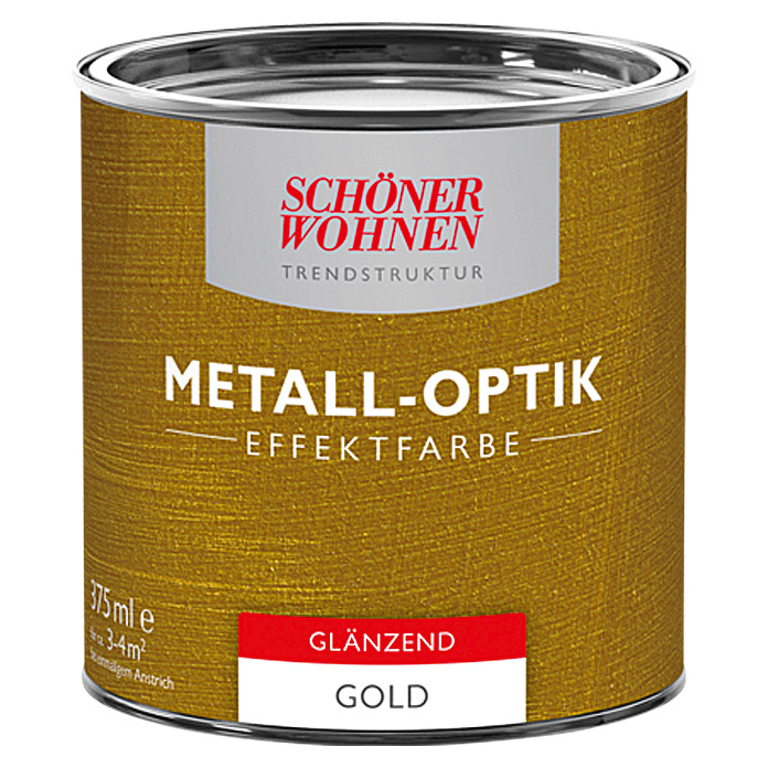 sch ner wohnen metall optik effektfarbe trendstruktur gold 375 ml gl nzend bauhaus. Black Bedroom Furniture Sets. Home Design Ideas